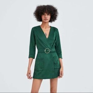 Zara Green Faux Suede Wrap Belt Jumpsuit Playsuit